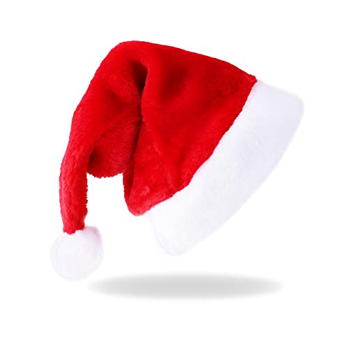 Santa Hat, Christmas Hat, Xmas Holiday Hat for Adults Man Women, Unisex Santa Claus Hats for Christmas New Year Festive Holiday Party Supplies
