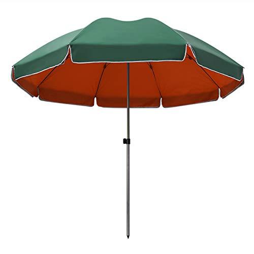 AYJS Sombrilla de Playa, Sombrilla de Patio, Parasol, Paño de Paraguas de Doble Capa, Desmontable, para Uso en Exteriores, Jardines, Balcones, etc, 2.6M, Verde y Naranja