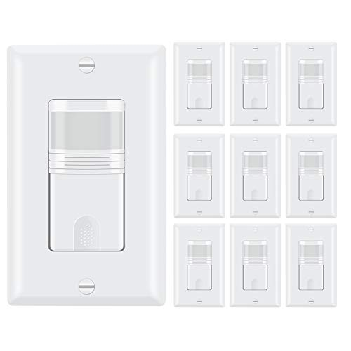 ECOELER Motion Sensor Light Switch, Occupancy & Vacancy Model Motion Activated Wall Switch, Neutral Wire Required, Single Pole for Indoor, Wall Plate Included, UL Listed FCC Approval