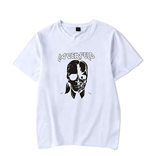 T-Shirt Mode Karl Lagerfeld Drucken Kurze Ärmel T-Stück Beiläufig Lose Unisex Trikot Große Größe Lose/Weiß/M