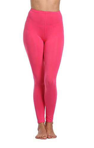 Cheapestbuy Women's Soft Cotton Full Length Legging Basic Solid Color Leggings Pants Plus Size and Regular Size Rose