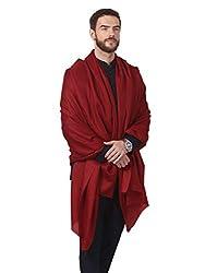 Pashtush Fine Wool Mens Shawl (Maroon)