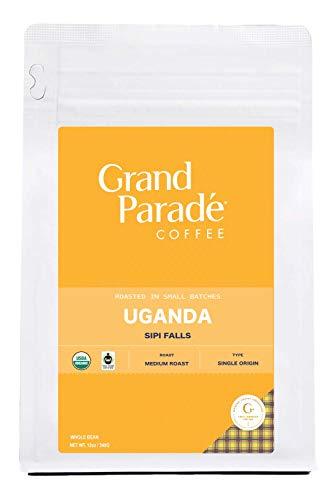 Grand Parade Coffee, Organic Uganda Blue Mountain Blend, Dark Roast, (12oz.) Whole Bean, Fresh Roasted Gourmet Single Origin, Low Acid, Premium Arabica Coffee, Fair Trade, 12-ounce Bag (Whole Bean)