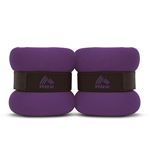 RBX Adjustable Wrist Ankle Weights for Toning, Strengthening Your Body, Running, Jogging, Walking, Resistance Training, Physical Therapy, Set of 2 (Dark Purple, 1lb (2lb Pair))
