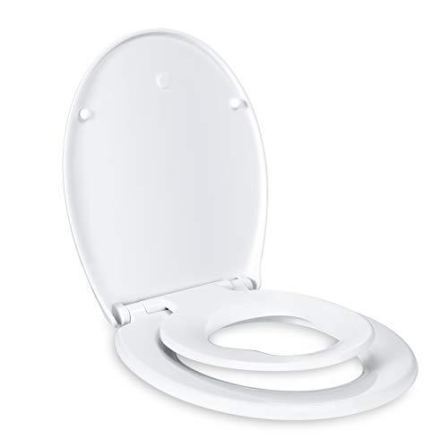 Sedile WC, TACKLIFE DBTS02BJ - Copriwater per Famiglia con Chiusura Ammortizzata & Misura Standard, Coperchio wc universale per Famiglia sia Adulti e Bambini & Forma Ovale & Rapido Montaggio