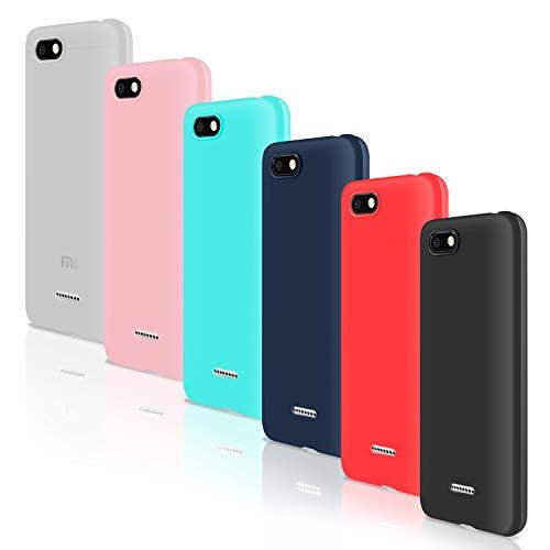 """Leathlux [6 Packs] Funda para Xiaomi Redmi 6A, Carcasas Colores Ultra Fina Silicona TPU Gel Protector Flexible Cover para Xiaomi Redmi 6A - 5.45"""" - Translúcido Rosa Verte Azul Rojo Negro"""