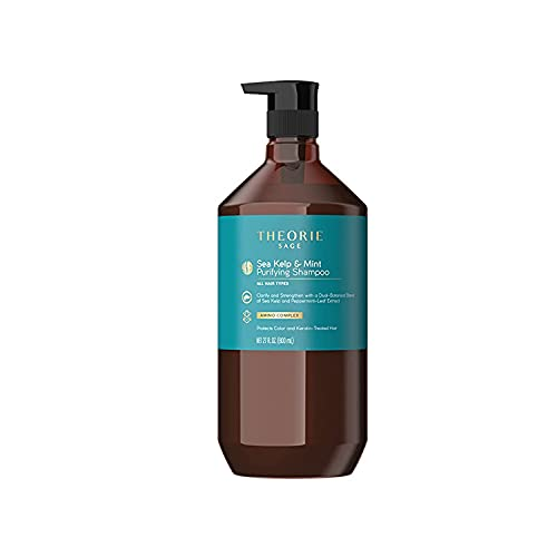 THEORIE Sea Kelp and Mint Purifying Shampoo - Clarify & Strengthen - Removes Access Oil and Build Up - Suited for All Hair Types - Protects Color and Keratin Treated Hair, Pump Bottle 800mL