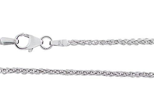 Hobra-Gold 55 cm WEISSGOLDKETTE 585 - Halskette - Kette Weißgold 14 Kt. massiv - Zopfkette - Seilkette