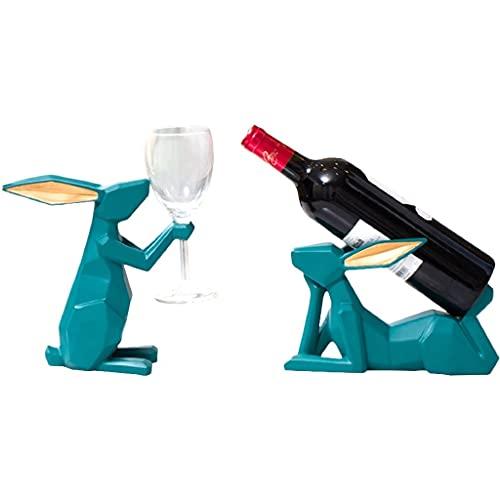MaxDal Estante De Vino De Conejo Geométrico De Goma, Botellero De Vino Independiente E Individual Y Estante De Copa De Vino, Muy Adecuado para Bares, Fiestas, Armarios Domésticos (Color : Green)
