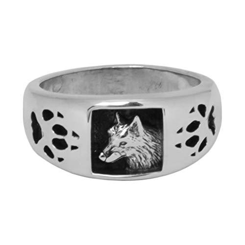 Silver Fox Indianerschmuck Wolfsring Navajo Style Westernschmuck Wolf Indianerring Ring (22mm)