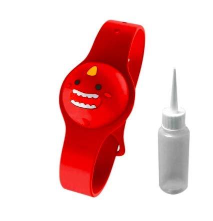 Pulsera Gel Hidroalcoholico Dispensador Manos para Gel Antibacterial - Pulsera dispensadora de desinfectante Manos con Bote Recargable de hidrogel - Pulsera Rellenable Gel Desinfectante (Rojo)