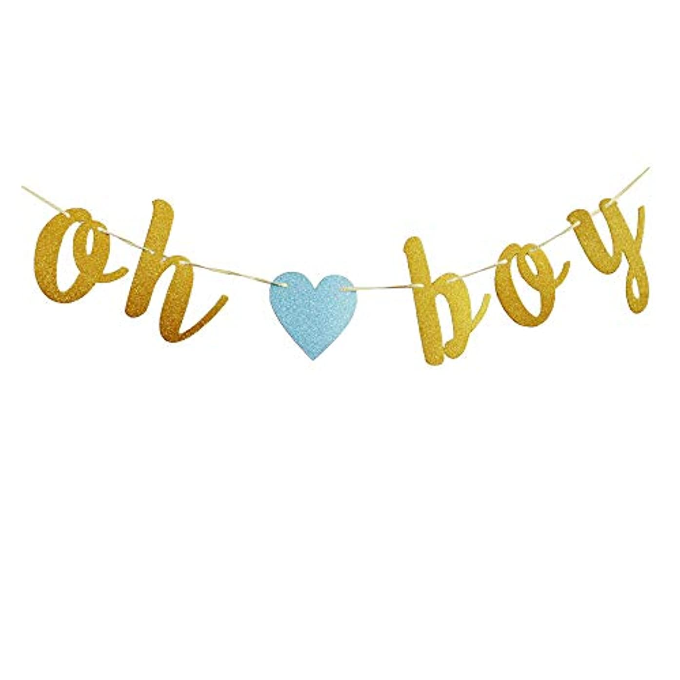 Oh Boy with Blue Heart Banner, Funny Paper Garland for Gender Reveal Baby Shower Party Decorations