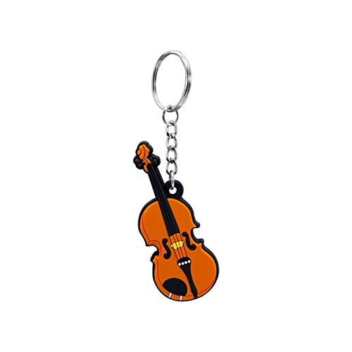 Musician-Designer Musical Instrument Silicone Keychain, Violin (Pack of 2)