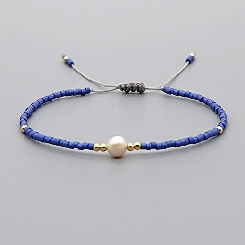 HMTHO Myuki rice Beads Hand-woven Friendship Rope Bracelet European And American Summer Women Natural Freshwater Pearl Bracelet Gift (Metal Color: RB379-28)