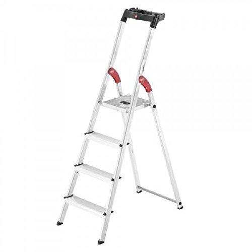 Hailo 0005262 ladder van aluminium, veelzijdig model inclusief multiplicator plaat en knikbescherming, versie met 4 niveaus