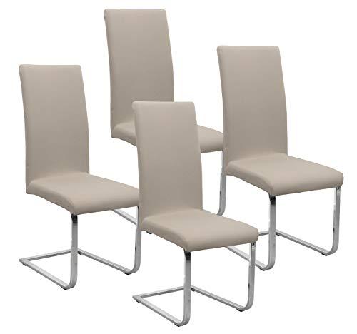BEAUTEX Jersey Stuhlhussen Sets, elastische Stretch Husse Baumwolle Bi-Elastic, Farbe wählbar (Beige 4er Set)