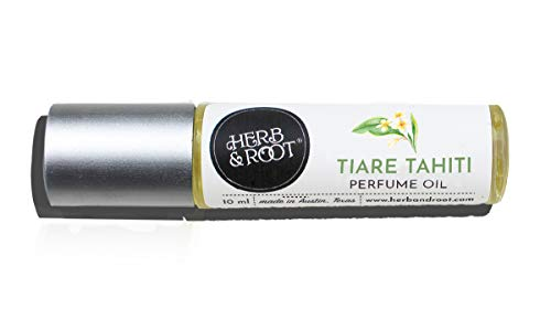 Tiare (Monoi de Tahiti) and Teakwood Perfume Oil for Women | Rollerball (Roll on) Fragrance | Herb and Root 10ml