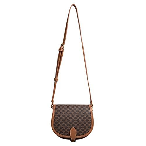 Bolsos de Las Mujeres Bolsas de Hombro PU Cuero Pequeño Cuerpo Cuerpo Bolsas de Damas Partido de la Noche Embrague -Damas Handbag -Fashion Elegant Simple Crossbody Bag (Color : Brown, Size : L)