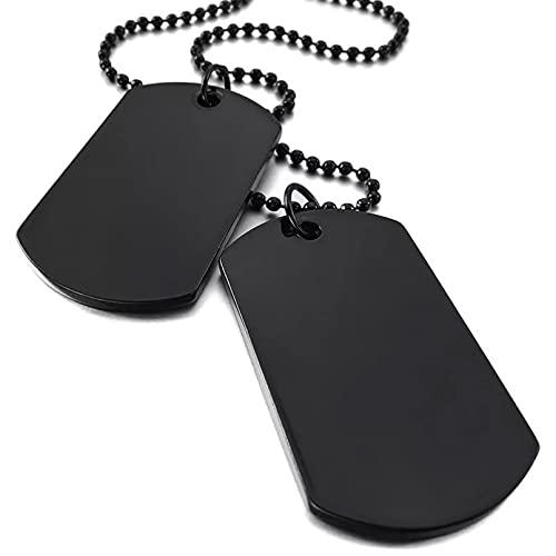 Chenfeng Los Hombres Usan Collares Pendientes Collar Militar Minimalista para Hombre Colgante de Acero Inoxidable con 2 Placas Grabables Joyas Regalo para Esposo, Padre, Novio. Regalo de cumpleaños