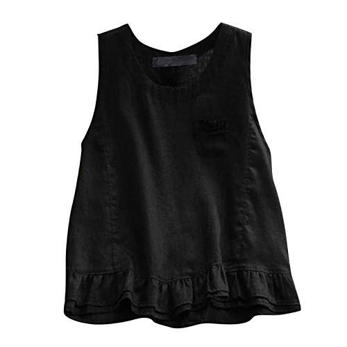 TUDUZ Blusas Mujer Sin Mangas Verano Lino Camisas Color Sólido Vintage Camisetas Tallas Grandes(F Negro,M)