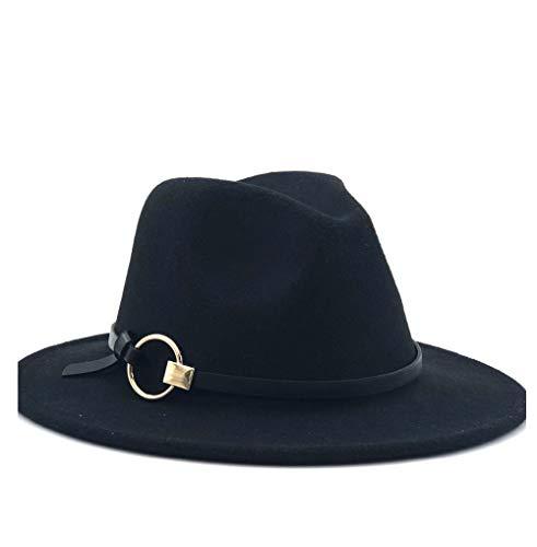 ZHANGBIN Moda Hombre Mujer Sombrero de Fieltro de Lana de Fieltro con Anillo de aleación Sombrero Ornamental Jazz Iglesia Padrino Sombrero de Fieltro Sombrero de ala Ancha