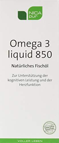 NICApur Omega 3 liquid 850 I Natürliches Fischöl I mit Docosahexaensäure (DHA) und Eicosapentaensäure (EPA) I Reinsubstanz ohne Zusatzstoffe I 150 ml