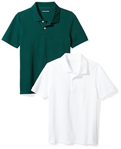 Amazon Essentials Boys' 2-Pack Uniform Pique Polo, Bright White/Hunter Green, 3T