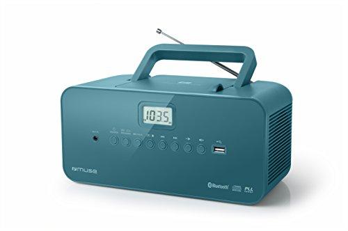Radio Portable Muse - M-30 BTB - Radio, CD, mp3, USB avec Fonction Bluetooth - Mémorise Les émissions - Fonctionnement sur Piles ou sur Secteur Bleu-Vert
