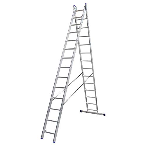 Alumexx Ladder 2×16 - Reform - Ladder - Dubbele - Ladder - Dubbele - Trap - Hoogwaardig Aluminium - 2x16 Sporen - 7.37 m Lang (Uitgeschoven) -