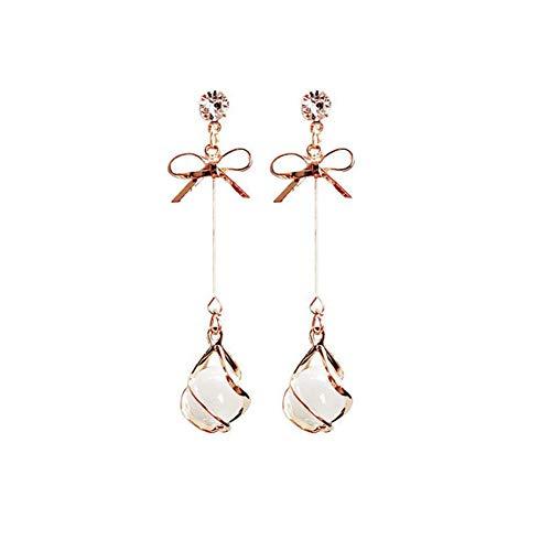 Cestbon Rotgold Lange Weiße Opal Ohrringe,Ggoldener Schmetterling,Bogen Geformt Lange Hochzeit Ohrringe,Damen Braut,Gold