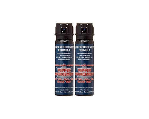 Pepper Enforcement 2-Pack PE1110M-FT Splatter Stream Pepper Spray for Self Defense - Police Strength 10% OC Formula - Emergency Non Lethal Self Defense Protection & Safety (2-PACK Stream Pepper Spray)