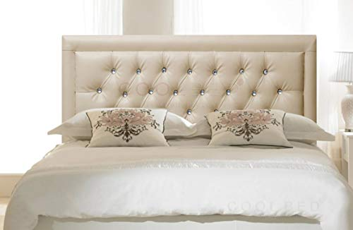 FAUX LEATHER 26' MIAMI HEADBOARD FOR DIVAN BED BASE (Cream, 2FT6 - SMALL SINGLE)