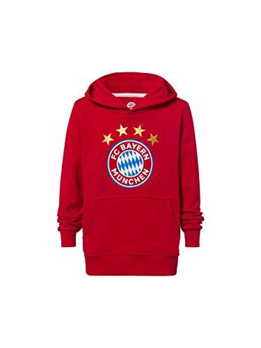 FC Bayern München Hoodie Logo rot Kinder, Kapuzenpullover mit Brusttasche, 176