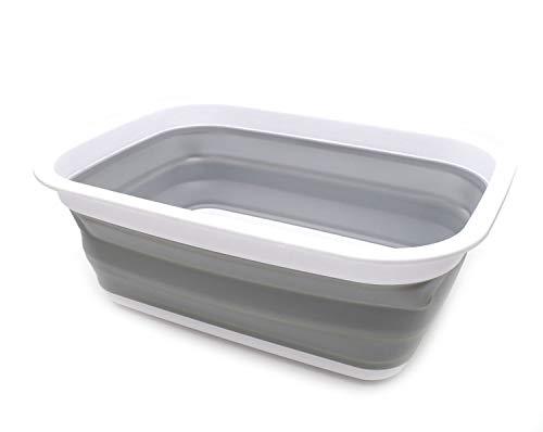 SAMMART 9.2L (2.37Gallon) Faltbare Badewanne - Tragbarer Picknickkorb/Krater - Faltbare Einkaufstasche - Platzsparender Aufbewahrungsbehälter (Grau)