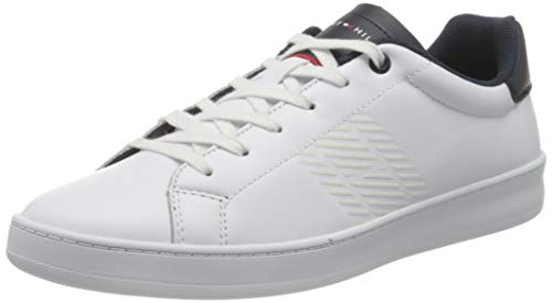 Tommy Hilfiger Retro Tennis Cupsole Leather, Zapatilla de Deporte Hombre, Blanco (White/Desert Sky), 46 EU