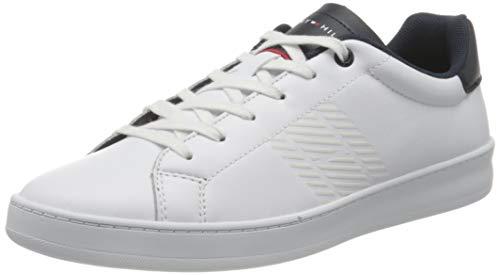 Tommy Hilfiger Retro Tennis Cupsole Leather, Zapatilla de Deporte Hombre, Blanco (White/Desert Sky), 45 EU
