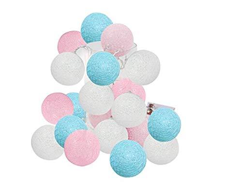 Luces de jardín 2.5m 20 LED Rosa Azul Blanco Revelación de género Decoración de Fiesta Bola de algodón Cadena de Luces para Dormitorio Luces de Hadas Funciona con Pilas Luz de Noche de guardería Habi