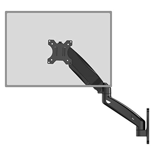 WALI Single LCD Monitor Fully Adjustable Gas Spring Wall Mount Fits 1 Screen VESA up to 27 inch, 14.3 lbs. Weight Capacity, Arm Max Extension 17 inch (GSWM001), Black