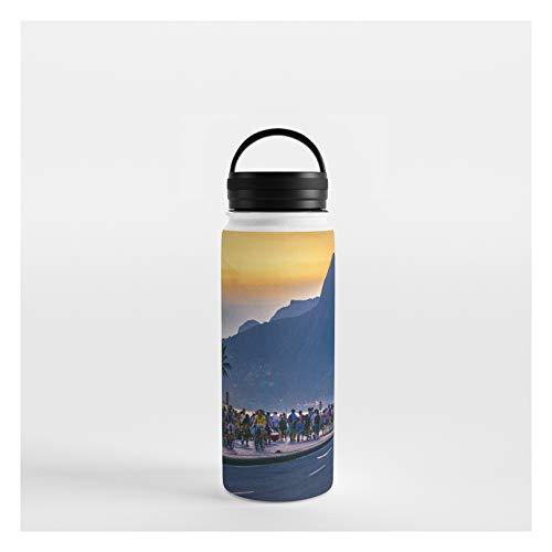 Society6 Ipanema Beach, Rio De Janeiro, Brazil by Dflc Prints on Water Bottle - 18 oz 532 mL - Handle Lid