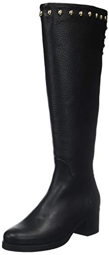 Tommy Hilfiger Damen Round Stud Long Boot Hohe Stiefel, Schwarz (Black 990), 39 EU