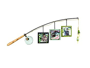 Young s 14145 Wood Fishing Pole Triple Picture Frame 4  by 4  Multicolor