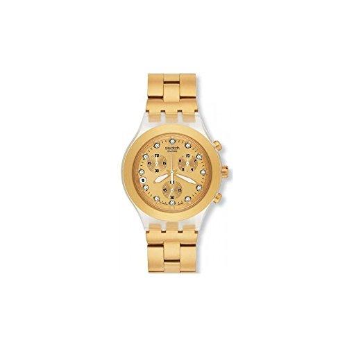Swatch Full-Blooded SVCK4032G Core Collection - Reloj Unisex de Cuarzo, Correa de Acero Inoxidable Color Oro (con cronómetro)