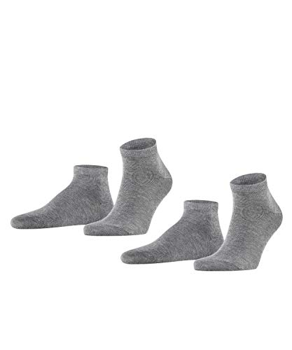 FALKE Herren Sneakersocken Happy - 85% Baumwolle, 2 Paar, Grau (Light Grey Melange 3390), Größe: 43-46