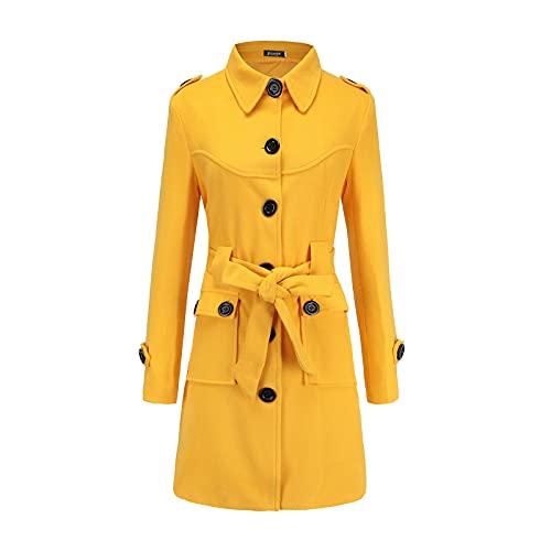 TDEOK Abrigo de invierno cálido de lana para mujer, chaqueta cortavientos, pajarita, abrigo, cinturón, abrigo, abrigo, abertura en la espalda, amarillo, L