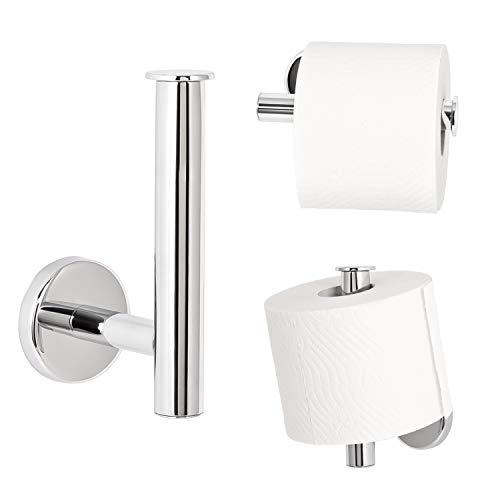bremermann Bad-Serie LUCENTE – Toilettenpapierhalter 2in1 aus Edelstahl verchromt hochglänzend