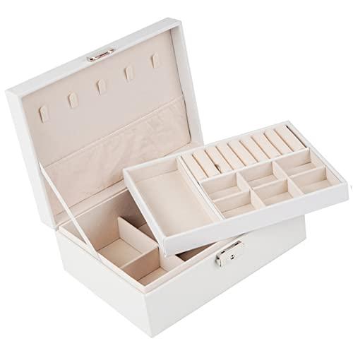 RunjinXinghe Caja de almacenamiento de joyería de doble capa con cerradura de cuero PU pendientes anillo joyería caja de almacenamiento caja de joyería caja de joyería