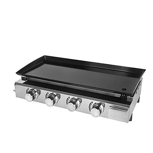 TRUSTME Gas-Grillrost Plancha Grill 4 Brenner LPG Steakmaschine CE 84 x 34 cm Gusseisen Grillplatte Outdoor Grill Gewerbe & Garten