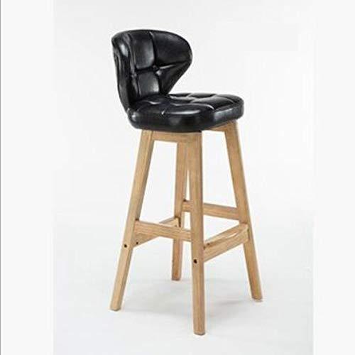 XQAQX kruk koffie barkruk uit hout - comfortabele hoge kruk - rugleuning in retro stijl voorzijde barkruk keuken eetkamerstoel grootte -43 x 45 x 75 cm Stool