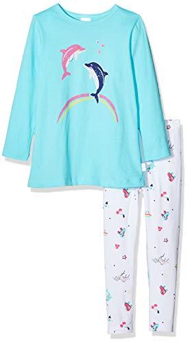 Schiesser Mädchen Girls World Md Lang Zweiteiliger Schlafanzug, Blau (Türkis 807), (Herstellergröße: 116)