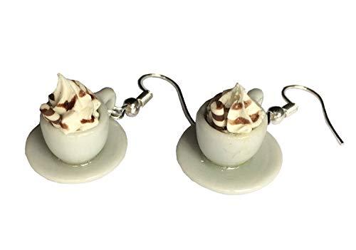 Miniblings Kakao Ohrringe Hänger Heiße Schokolade Tasse Kaffee Café Eiskaffee - Handmade Modeschmuck I Ohrhänger Ohrschmuck versilbert